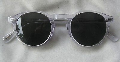 OLIVER PEOPLES Clear Frames Grey Lenses Round Sunglasses