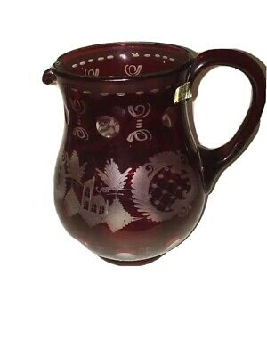 Gorgeous Ruby Red Stained Glass EGERMANN Bohemian Crystal Wheel Cut Pitcher Deer