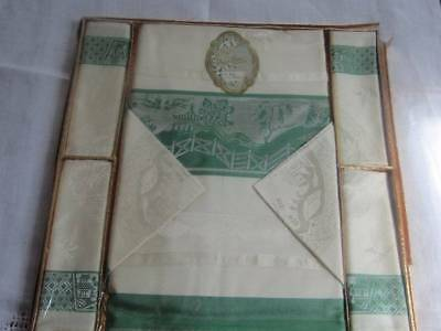 Unused Vintage Damask Tablecloth & Napkins Willow Pattern Boxed