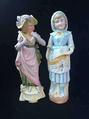 Antique German Bisque porcelain pair . Marked Bottom