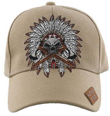 85dc53439 INDIAN CHIEF & Skull Native Pride Baseball Caps Hats Embroidered ...