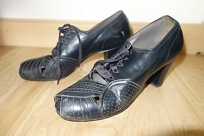 Vintage 30s Deco Navy Blue Leather Shoes Size 7 Heels 40s