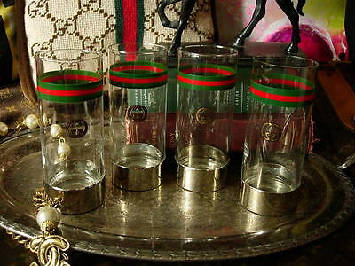 RARE Vintage GUCCI Red Green GG Highball Glasses Holiday Service Barware Decor