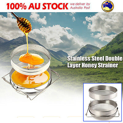 Stainless Steel Honey Strainer Double Sieve Tea Leaf Filter Beekeeping Equipment
