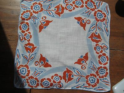 Vintage Red and  Blue  Handkerchief. Very good condition.