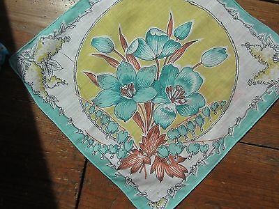 Vintage Turquoise Floral Handkerchief. Very good condition.