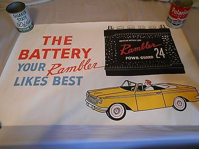 Vintage August 1962 Rambler Automobile Dealership Paper Battery Poster NOS