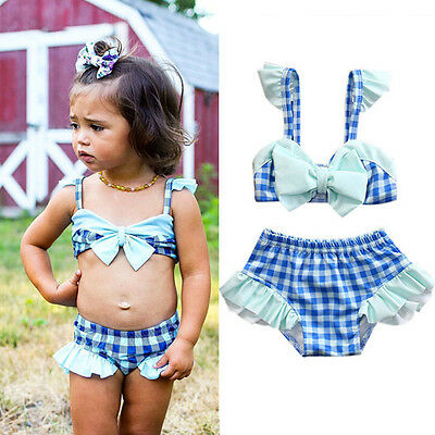 AU Toddler Kids Baby Girls Tankini Bikini Swimwear Swimsuit Bathing Suit Beach