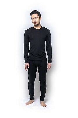 Mens Brandella Thermals 100% Pure Merino Wool 2 Piece Long Set Black