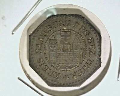 1917 Germany Notgeld 5 Pfennig Coin Saarburg Zinc 19mm Funck  #463.3 Lamb #449.3