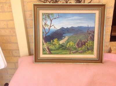 Large vintage oil painting,FYANS Valley ,Grampian Mountains Victoria  1994