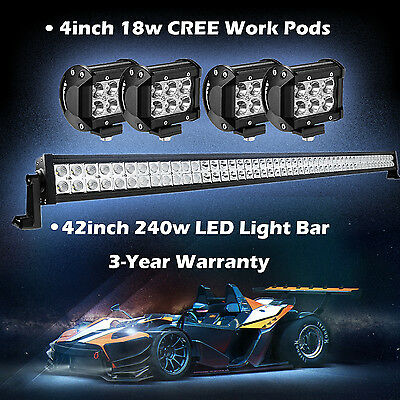 "42inch 240w Led Work Light Bar + 4"" CREE Pods Offroad Fog Truck SUV Jeep ATV 40"""