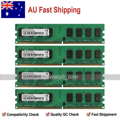 AU 8GB KIT 4x2GB PC2-6400 DDR2-800MHz 240Pin DIMM Desktop Memory Low Density