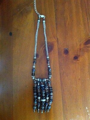 Genuine Handmade Sterling Silver 925 Brown Crystal Pearl Beaded Chain Necklace
