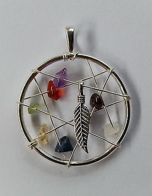 655 XLG Dreamcatcher pendant Solid 925 Sterling Silver w chakra gems rrp$69.95