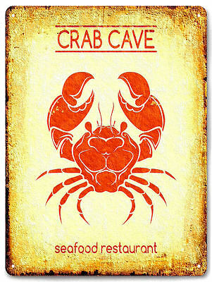 SEA FOOD restaurant  METAL SIGN crab lover vintage style diner wall decor 609