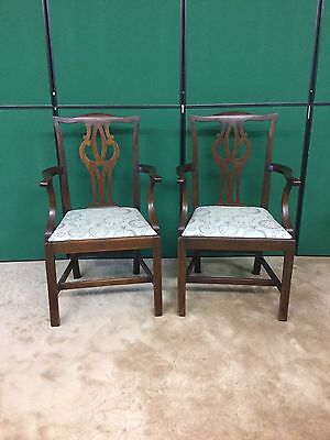 Antique Pair Of Mahogany Carver Armchairs Newly Upholstered Clock Watch Fabric