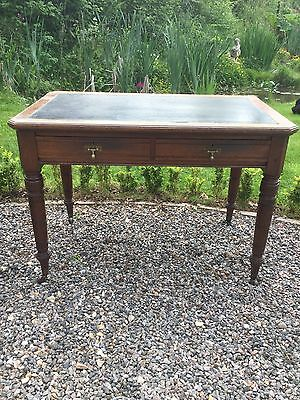 Antique Leather Topped Two Drawer Desk