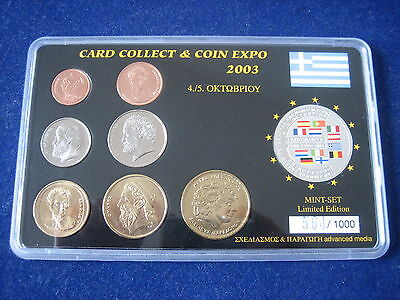 """Mds Griechenland Drachmen-Kms + Silbermedaille """"card Collect & Coin Expo 2003"""""""