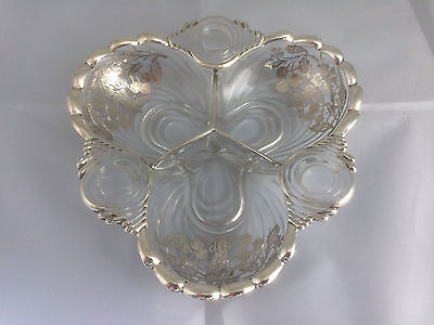 Glass Dish With Sterling  Silver Overlay