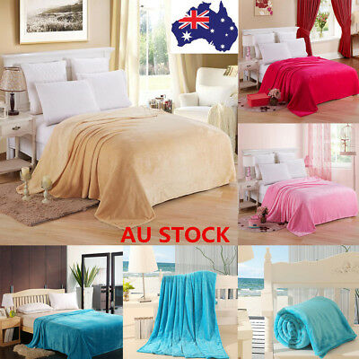 Super Soft Plush Micro Fleece Blanket  Throw Rug Sofa Bedding 120*200cm 4 Colors