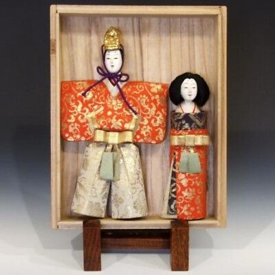 Taisho era Japanese Standing Hina Dolls with Paulownia Box 100×30×170 C1-014