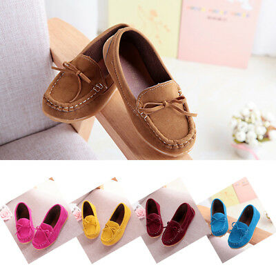 Boys Comfortable Casual Peas Kids Cute Shoes Flats Bow Loafers Faux Leather Baby