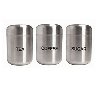 3 Piece Canisters Stainless Steel Coffee Tea Sugar Jar Air Tight Lid Storage Set