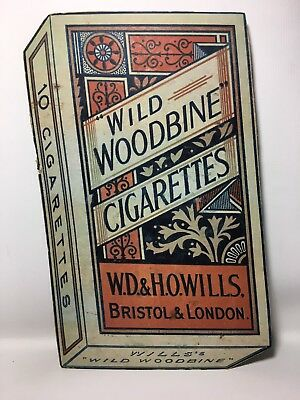 Vintage Will's Wild Woodbine Cigarettes Cardboard Advertising Shop Display Sign