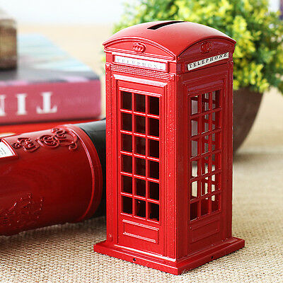 Vintage London Red Telephone Booth Saving box Piggy Bank Money Coin Box