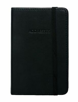 WHSmith Globetrotter Small Black Leather Effect Address Book Ivory Ruled Pages