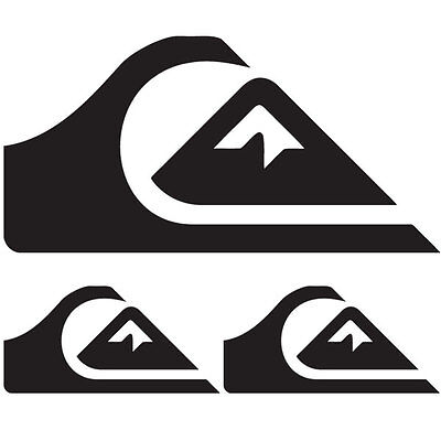 Quiksilver Surf Stickers Decals 3 Pack Black