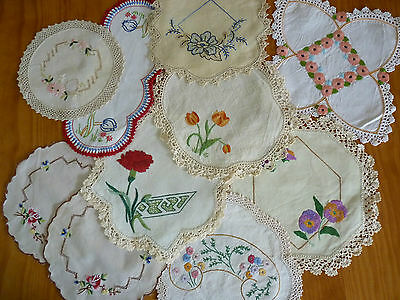 LOT of 10 ASSORTED Vintage Small & Sandwich Doilies Hand Embroidered #3