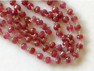 "8"" Strand Faceted Ruby Rondelle Beads, 925 Silver Wire Wrapped Ruby Beaded Chain"