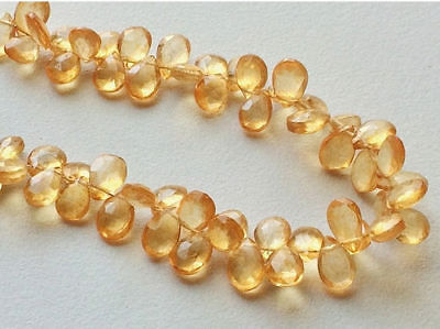 """8"""" Strand Crystal Quartz Beads, Faceted Crystal Quartz Pear Beads Coated Crystal"""