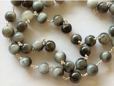 5 Feet Wholesale Cats Eye Plain Round Balls 925 Silver Wire Wrapped Rosary Chain