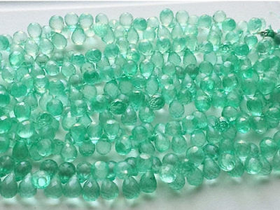 """4"""" Strand Micro Faceted Crystal Quartz Tear Drop Beads, Coated Crystal Beads"""