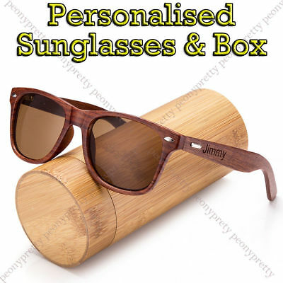 Personalised Engraving Walnut Wood Tan Lenses Sunglasses Groomsmen Birthday Gift
