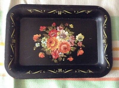 "Vintage Enameled Metal Tray 6 1/2"" X 4 1/2"" Black With Flower Bouquet"