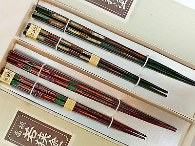 4 Pairs of Vintage Wooden Chopsticks with Inlay ~ Made in Japan ~ 2 New Pairs