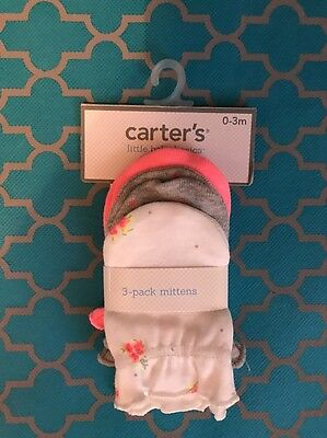 NWT Carter's Baby Girls adorable 3 Pack Mittens