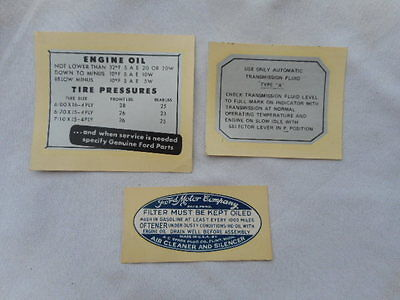 Vintage Lot Of 3 Ford Motor Company Decals Under The Hood- Oil -Transmission NOS