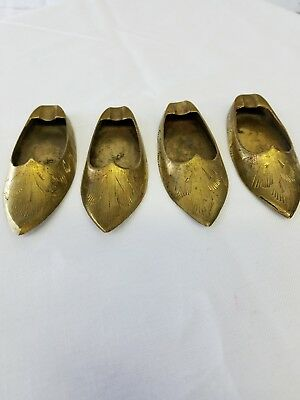 LOT OF 4 Vintage Brass Ashtrays India Etched on 3