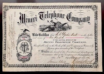 1886 Meucci Telephone Co. - MEUCCI INVENTED TELEPHONE NOT ALEXANDER GRAHAM BELL!