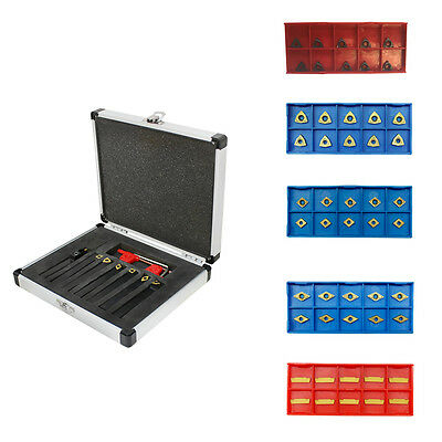 Replacement Inserts + 7 Pc 3/8'' Indexable Carbide Turning Tool COMBO set SCLCL