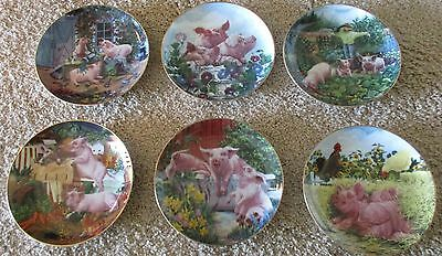 Pigs in Bloom Danbury Mint Joan Wright Collectible 6 Plates