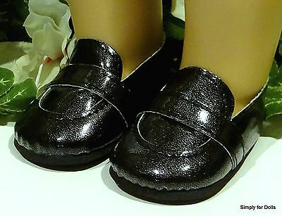 """BLACK """"Boy's"""" Patent Slip-On LOAFERS DOLL SHOES fits 18"""" AMERICAN GIRL Boy Doll"""