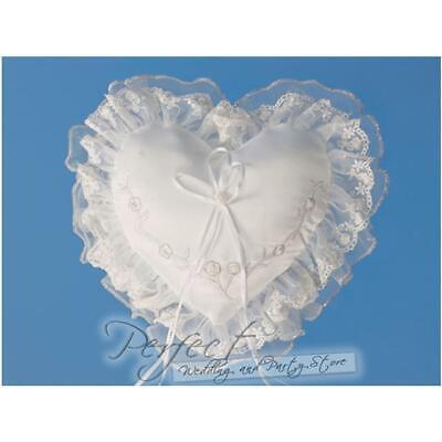 White And Silver Love Heart Wedding Day Ring Cushion Pillow With Pink Embroidery
