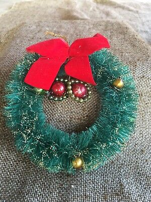 Vintage Green Bottle Brush Wreath, Mercury Glass Ornaments,Glitter, Red Bow, 5""