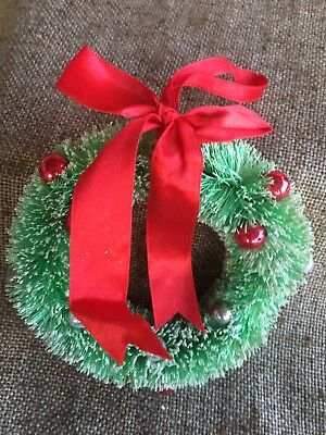 """Vintage Green Flocked Bottle Brush Wreath, Colored Ornaments, Red Bow, 5"""""""